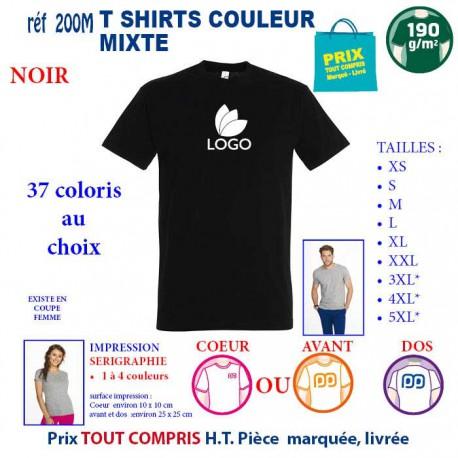 T-SHIRT COULEUR NOIR MIXTE 190 G REF 200 M 200 M NOIR T-SHIRT MIXTE COTON 190 GRS  3,05€