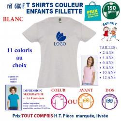 T-SHIRTS ENFANT FILLETTE BLANC REF 680 F 680 F BLANC T-SHIRT FILLETTE COTON ENFANTS 150 GRS 4,16 €