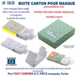 BOITE CARTON PERSONNALISEE POUR MASQUES REF 100-20 100-20 SECURITE 1,87 €