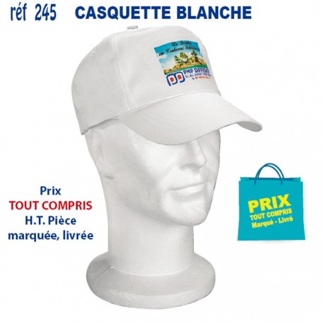 CASQUETTE ADULTE BLANCHE REF 245 245 CASQUETTES ADULTES 1,24 €