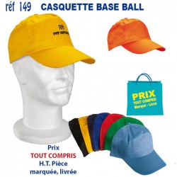 CASQUETTE BASE-BALL REF 149 149CASQUETTES ADULTES 1,25 €