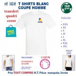 T-SHIRT BLANC PUBLICITAIRE COTON HOMME 150 GRS TRANSFERT QUADRI REF 163 HTRANS 163 HTRANS T SHIRTS BLANCS PUBLICITAIRES PERSO...