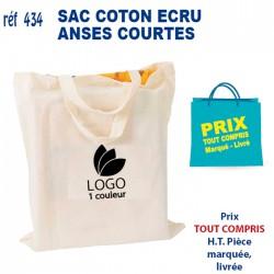 SAC COTON ECRU ANSES COURTES REF 434 434 SACS SHOPPING - TOTEBAG 1,09 €