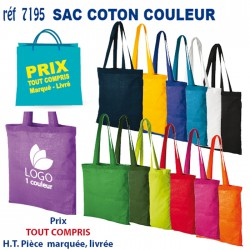 SAC COTON COULEUR REF 7195 7195SACS SHOPPING - TOTEBAG 1,23 €
