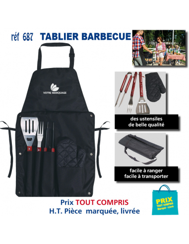 TABLIER BARBECUE REF 687 687 SPORTS LOISIRS : OBJET PUBLICITAIRE  12,40€