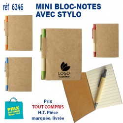 MINI BLOC NOTES AVEC STYLO 6346 6346 Carnet 0,85 €