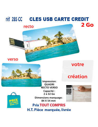 CLES USB REF 285 CC CARTE DE CREDIT 2 Go 285 CC 2 Go CLES USB PUBLICITAIRES  4,73€