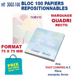 BLOC 100 REPOSITIONNABLES 75 X 75 MM 3002-100 bloc notes - bloc mémos 0,77 €
