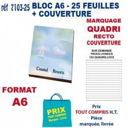 BLOC 25 FEUILLES A6 + COUVERTURE QUADRI 7103-25 bloc notes - bloc mémos 0,61 €