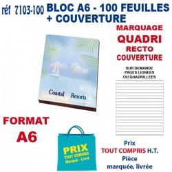 BLOC 100 FEUILLES A6 + COUVERTURE QUADRI 7103-100 bloc notes - bloc mémos 1,08 €