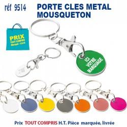 PORTE CLES METAL JETON MOUSQUETON REF 9514