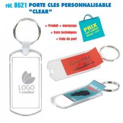 PORTE CLES PERSONNALISABLE CLEAR REF 8621 8621 PORTE CLES PLASTIQUE 0,89 €