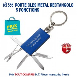 PORTE CLES METAL RECTANGOLO 5 FONCTIONS REF 556