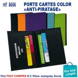 PORTE CARTES COLOR ANTI PIRATAGE REF 8606