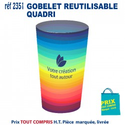 GOBELET REUSITISABLE QUADRI REF 2351