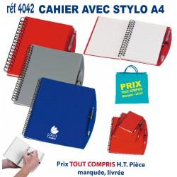 CARNET CAHIER AVEC STYLO A4 REF 4042